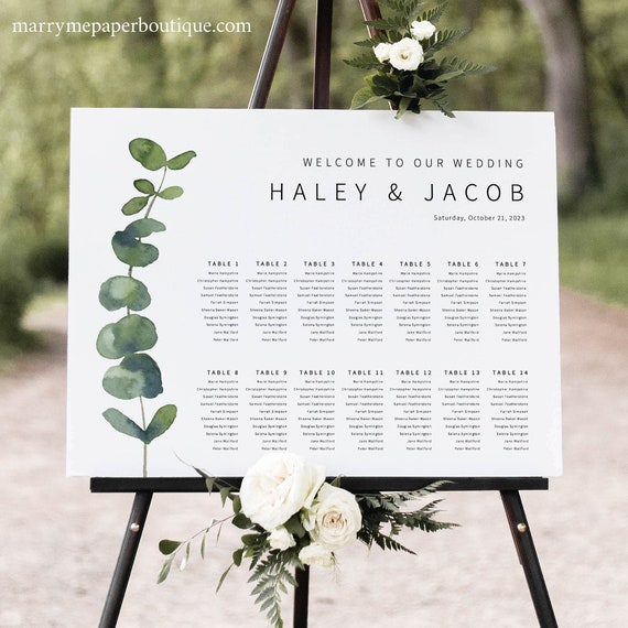 Wedding Seating Chart Template, Elegant Eucalyptus, Modern Table Seating Plan, Printable, Editable, Templett INSTANT Download