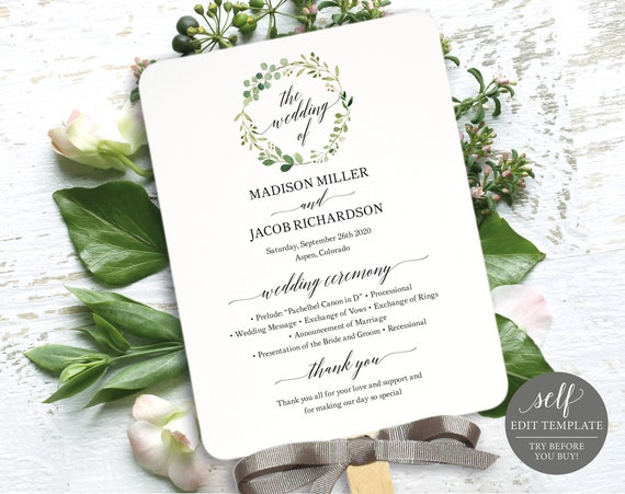 Greenery Wedding Program Fan Template, Printable Program Fan, Printable Wedding Fan, Editable Ceremony Fan, Instant Download