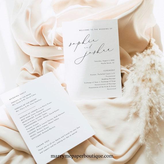 Wedding Program Template, Luxury Calligraphy, Elegant Wedding Ceremony Program, Printable, 5x7, Editable, Templett INSTANT Download