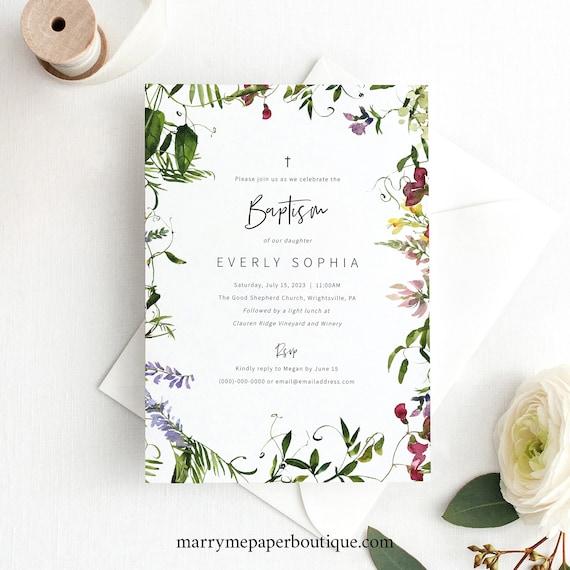 Baptism Invitation Template, Summer Garden Greenery, Baptism Invite Printable, Editable, Templett INSTANT Download