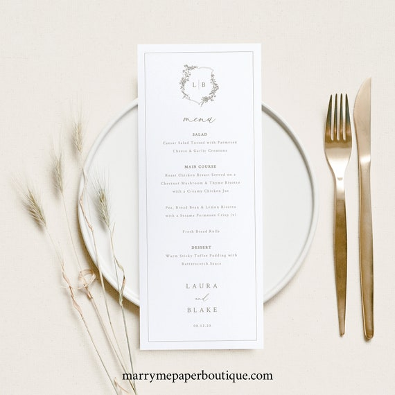 Wedding Menu Template, Botanical Crest, Elegant Wedding Menu, Printable, Templett, Fully Editable, INSTANT Download