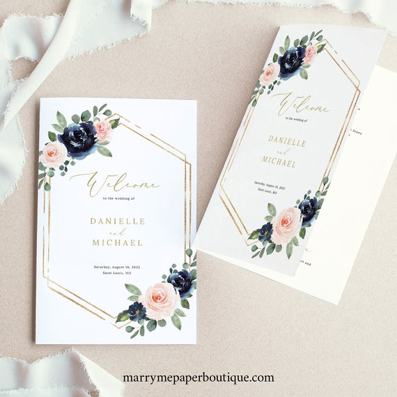 Wedding Ceremony Program Template, Navy & Blush Floral, Folding Wedding Program, Printable, Editable, Templett INSTANT Download