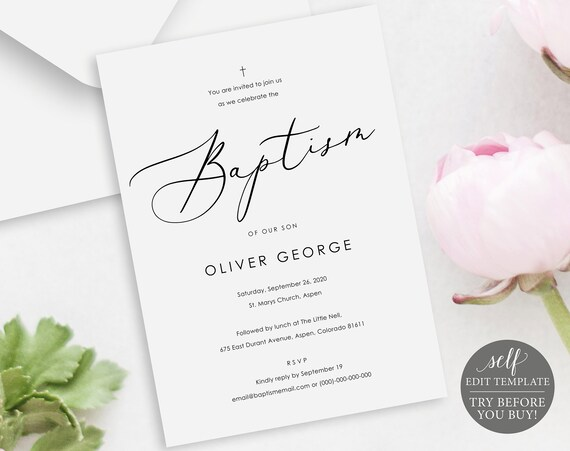 Baptism Invitation Template, TRY BEFORE You BUY, Printable Baptism Invite, Calligraphy, 100% Editable, Instant Download
