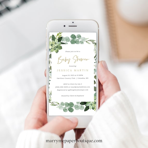 Digital Baby Shower Invitation Template, Lush Greenery, Electronic Baby Shower Text Invite, Editable, Templett INSTANT Download