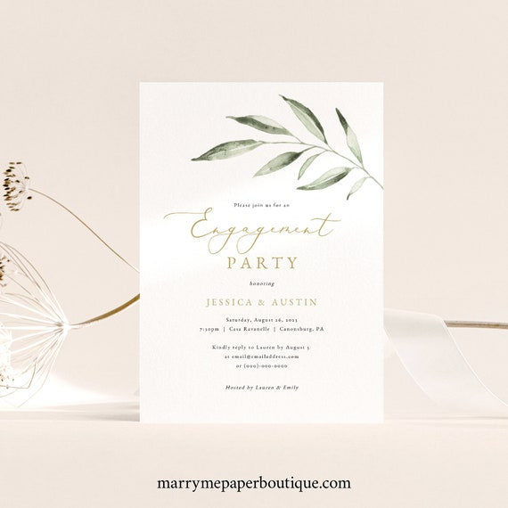 Engagement Party Invitation Template, Olive Leaf Greenery, Engagement Party Invite, Printable, Editable, Templett INSTANT Download
