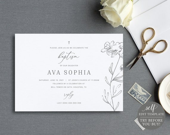 Baptism Invitation Template, Elegant Floral, Fully Editable Instant Download, TRY BEFORE You BUY