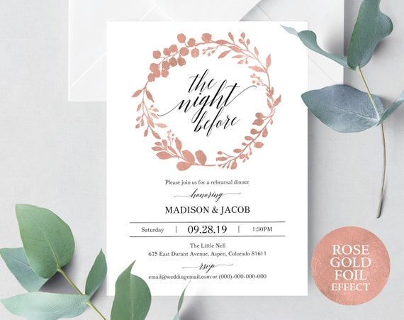 Rose Gold Rehearsal Dinner Invitation, Printable Rehearsal Invitation, Rose Gold Invitation, Editable Rehearsal, PDF Instant Download MM07-7