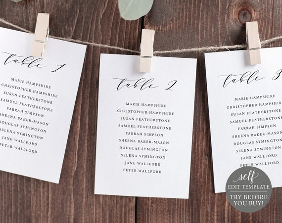 Seating Chart Template, Cards, TRY BEFORE You BUY, 100% Editable Instant Download, Elegant Script