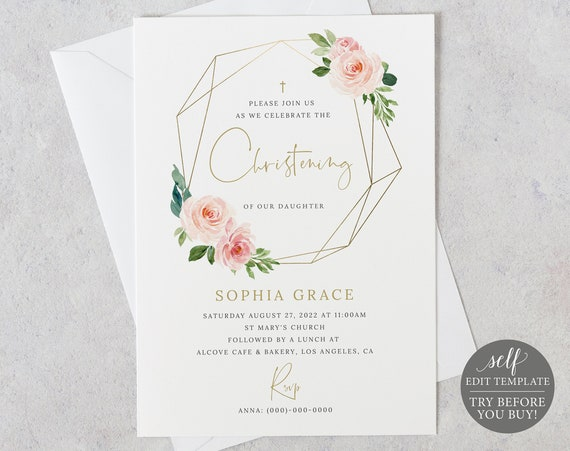 Christening Invitation Template, Blush Pink Geometric, Demo Available, Order Edit & Download In Minutes