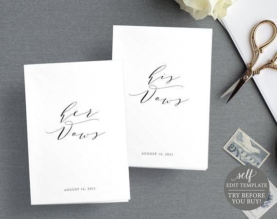 Wedding Vows Card Template, TRY BEFORE You BUY, 100% Editable Instant Download, Elegant Calligraphy
