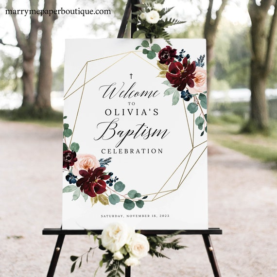 Baptism Welcome Sign Template, Burgundy Floral Baptism Sign, Printable, Editable, Templett INSTANT Download
