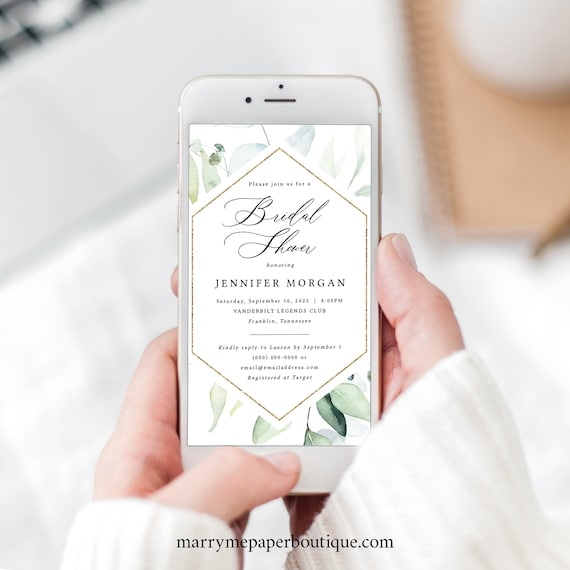 Bridal Shower Text Invite Template, Classic Greenery, Editable Electronic Invitation, Templett INSTANT Download