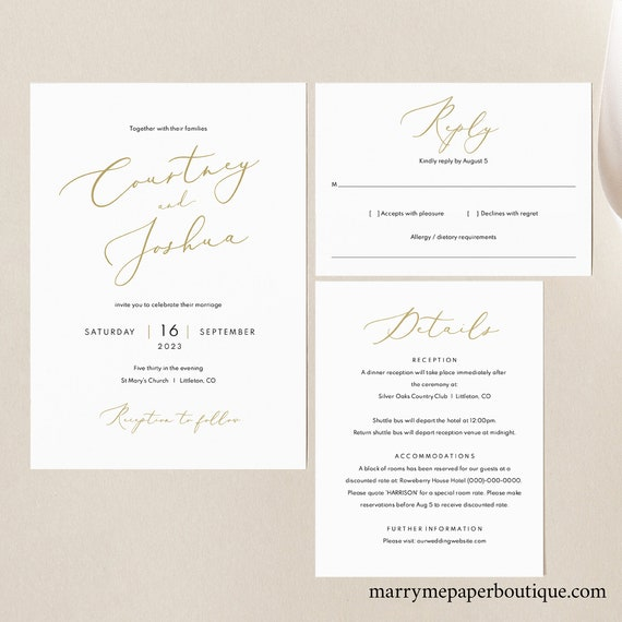 Wedding Invitation Template Set, Elegant Gold Script, Wedding Invite Printable, Details & RSVP, Editable, Templett, INSTANT Download