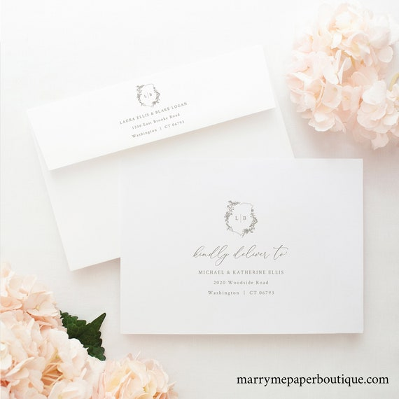 Envelope Address Template, Elegant Botanical Crest, Printable Wedding Envelope Address, Templett INSTANT Download, Fully Editable