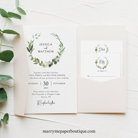 Pocketfold Wedding Invitation Template Set, Elegant Greenery , Templett Instant Download, Try Before Purchase