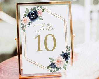 Table Number Template, Navy & Blush Floral, Editable Wedding Table Number Sign Printable, Templett INSTANT Download