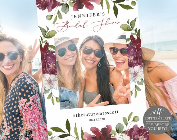 Bridal Shower Photo Booth Frame, Editable Template, Instant Download, Floral Burgundy, TRY BEFORE You BUY