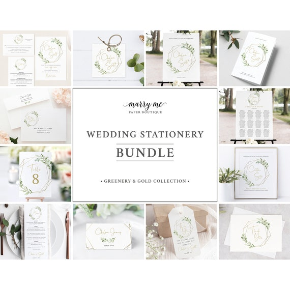 Wedding Invitation Template Bundle, Elegant Greenery, Template Kit, Demo Available, Wedding Bundle Templates, Templett Instant Download