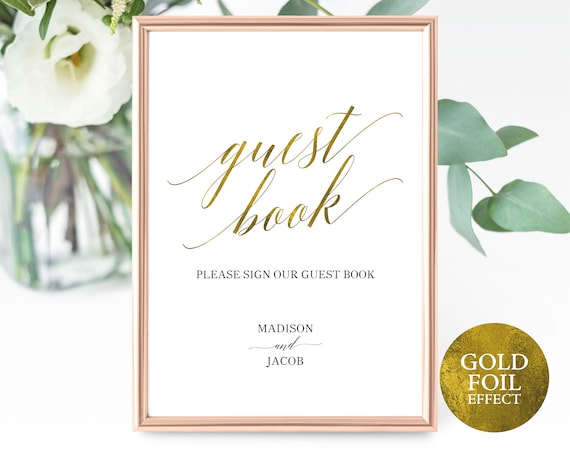 Faux Gold Guest Book Sign Template, Editable Guest Book Sign, Printable Please Sign our Guest Book Sign, PDF Instant Download, MM07-3