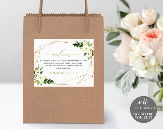 Welcome Bag Label Template, White Floral, Self Edit Instant Download, TRY BEFORE You BUY