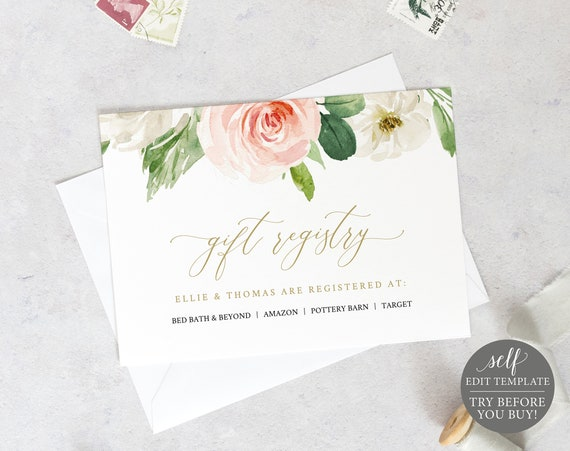 Wedding Registry Card Template, TRY BEFORE You BUY, Blush Floral, Editable Instant Download