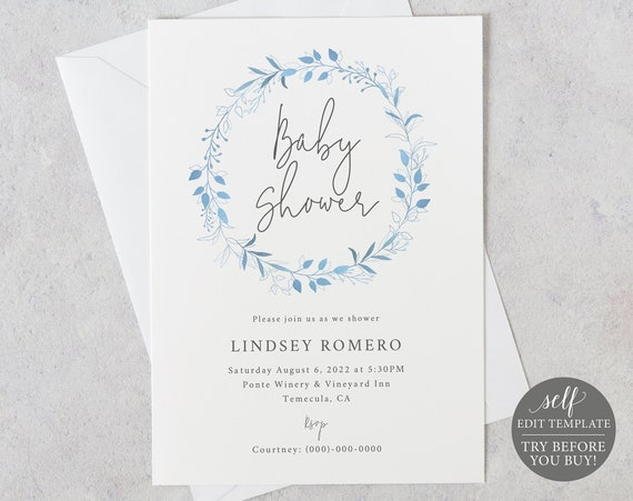 Baby Shower Invitation Template, 5x7, Light Blue Wreath, Order Edit & Download In Minutes, Try Before Purchase