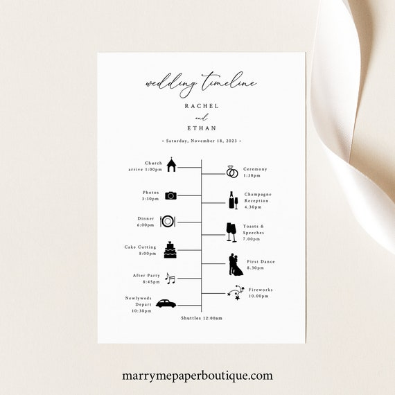 Wedding Itinerary Card Template, Elegant & Refined, Wedding Timeline Printable, INSTANT Download, Templett, Editable