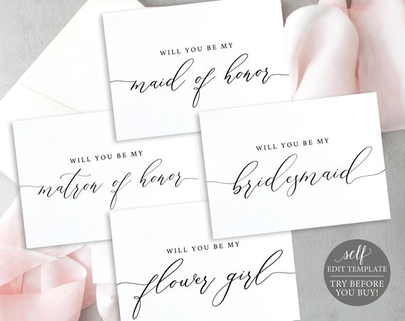Will You Be My, Wedding Bundle Templates, TRY BEFORE You BUY, Instant Download, Editable