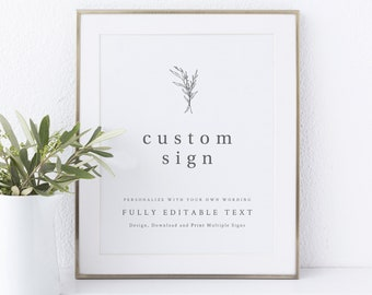 Wedding Sign Bundle Template, Create Multiple Modern Rustic Signs, Try Before You Buy, Templett Instant Download