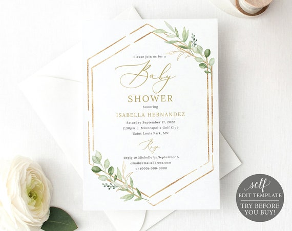 Baby Shower Invitation Template, Greenery Hexagonal, Editable & Printable Instant Download, Templett, Try Before You Buy