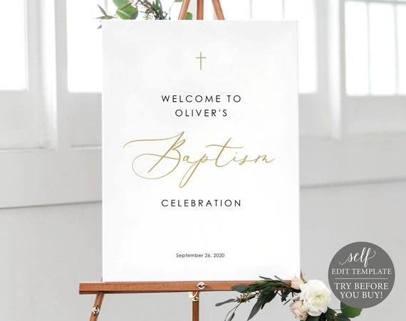 Welcome to the Baptism Sign Template, TRY BEFORE You BUY, Baptism Welcome Sign Printable, 100% Editable, Calligraphy, Instant Download