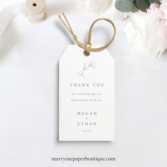 Botanical Leaf Favor Tag Template, Wedding Gift Tag Printable, Templett, Instant Download, Try Before Purchase