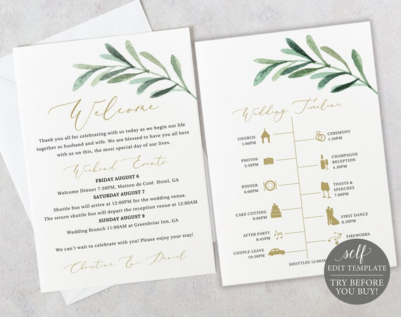 Wedding Itinerary Card Template, Greenery Leaf, Editable Instant Download, TRY BEFORE You BUY