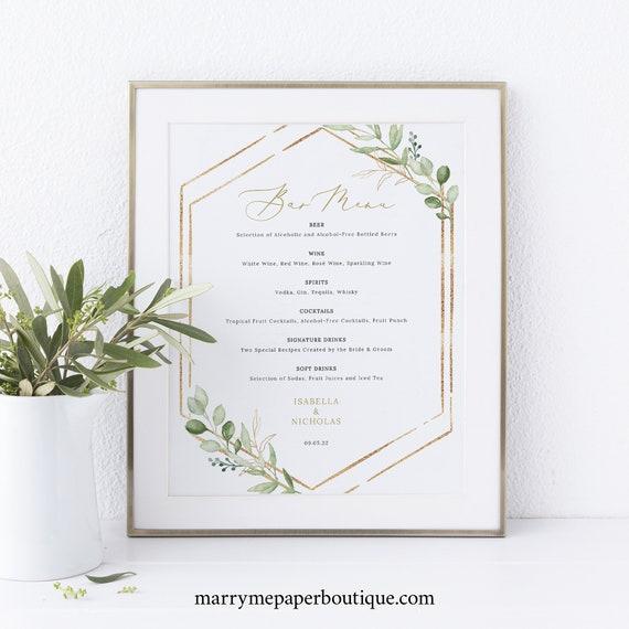 Wedding Bar Menu Template, Greenery Hexagonal, Printable Wedding Drinks Menu, Editable, Templett INSTANT Download