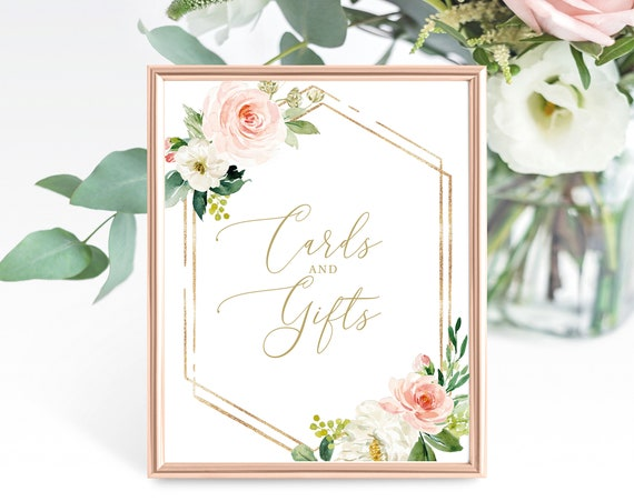 Cards & Gifts Sign Template, Blush Floral Hexagon, Non-Editable Instant Download