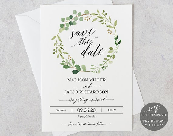 Save the Date Template, Greenery, Editable Instant Download, TRY BEFORE You BUY