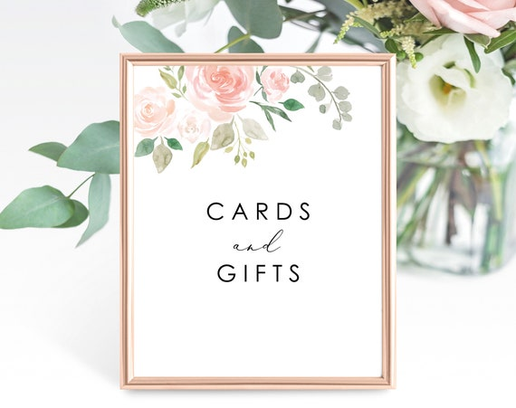 Floral Wedding Cards and Gifts Sign Template, Printable Cards and Gifts Sign, Wedding Gifts Sign, 8 x 10, PDF Instant Download, MM08-3