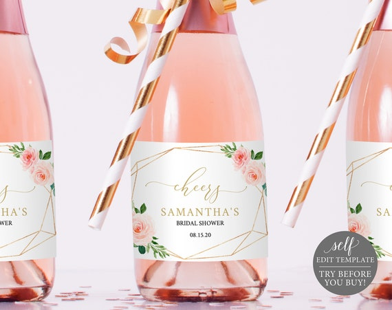 Champagne Bottle Label Template, Pink Floral Geometric, TRY BEFORE You BUY, Editable Instant Download