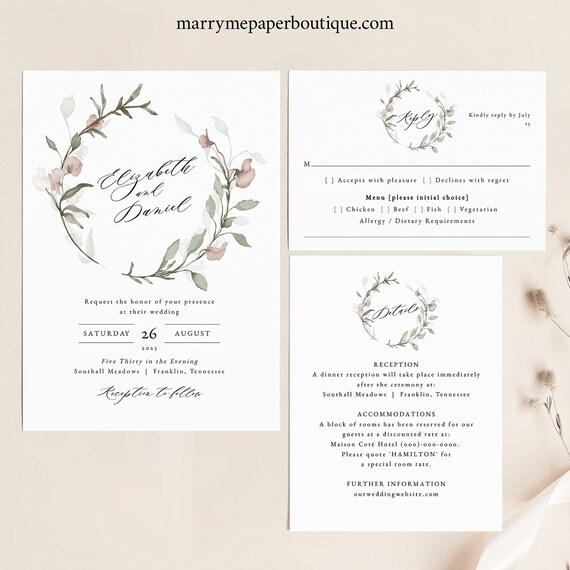 Blush Floral Wedding Invitation Template Set, Greenery Wedding, Invite Suite, Printable, Templett INSTANT Download, RSVP, Editable