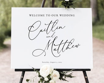 Calligraphy Wedding Welcome Sign Template, Printable, Elegant Wedding Sign, Fully Editable, Templett INSTANT Download