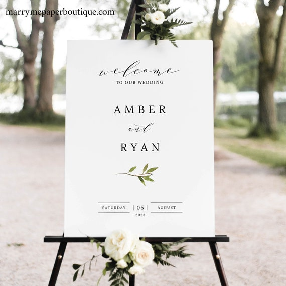 Greenery Wedding Welcome Sign Template, Green Leaf, Wedding Sign Printable, Templett Editable, Instant Download