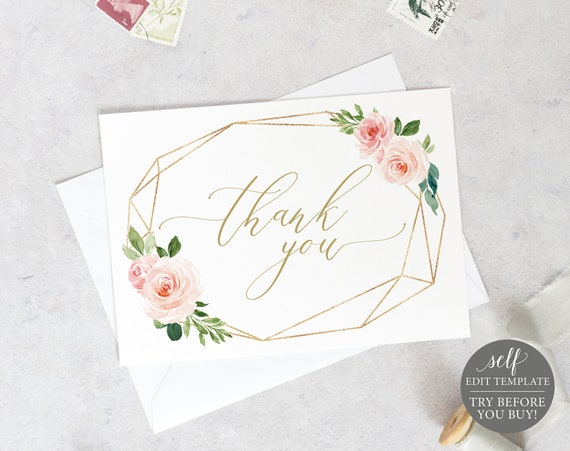 Thank You Card Template, TRY BEFORE You BUY, Instant Download, Editable Wedding Thank You Printable, Geometric Wedding Card