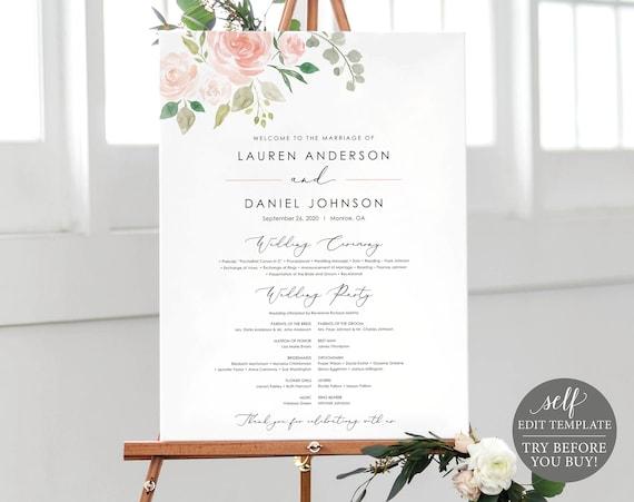 Floral Wedding Program Sign Template, Printable Program Sign, Program Poster, Large Program, Wedding Ceremony Sign, Instant Download