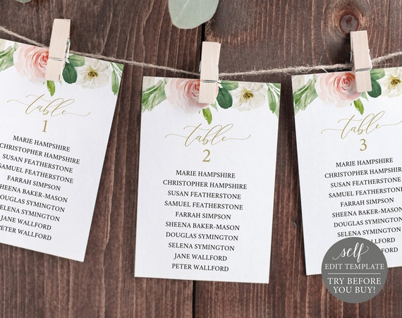 Wedding Seating Chart Template, Blush Pink Floral, TRY BEFORE You BUY, Editable Instant Download