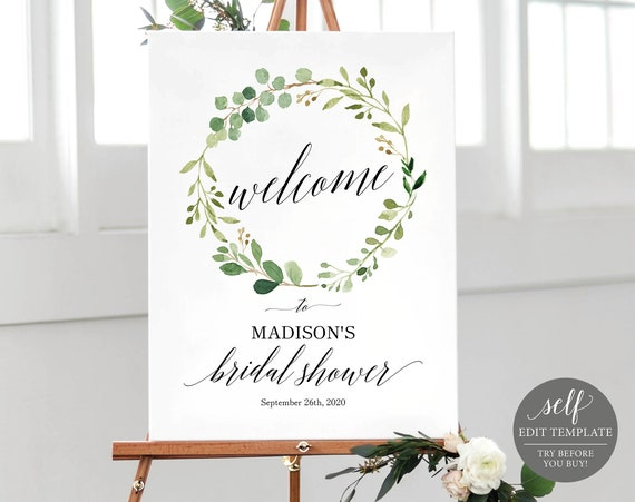 Greenery Bridal Shower Welcome Sign Template, Printable Bridal Shower Welcome Sign, Wedding Shower Welcome, Instant Download