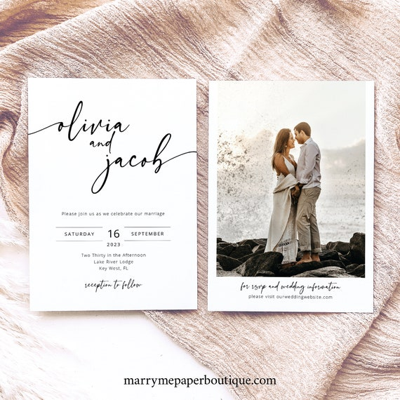 Wedding Invitation Template, Modern Calligraphy, Simple Wedding Invitation Printable, Editable, Templett INSTANT Download, Double Sided