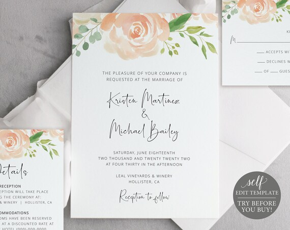 Wedding Invitation Template Suite, Peach Floral, Try BEFORE You Buy, Editable & Printable Instant Download, Templett