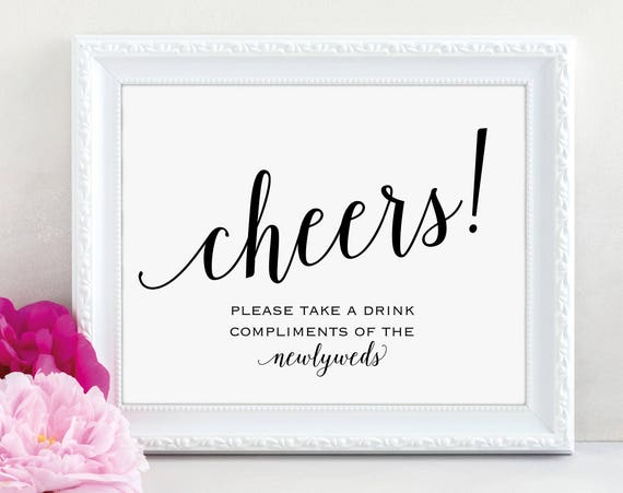 Cheers Sign, Newlyweds Sign, Drinks Bar Sign, Bar Sign, Wedding Printable, Wedding Bar Sign, Wedding Sign, PDF Instant Download, MM01-1