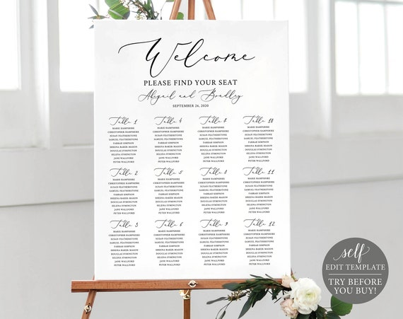 Wedding Seating Chart Template, TRY BEFORE You BUY, 100% Editable Wedding Poster, Printable Wedding Seating Sign, Instant Download