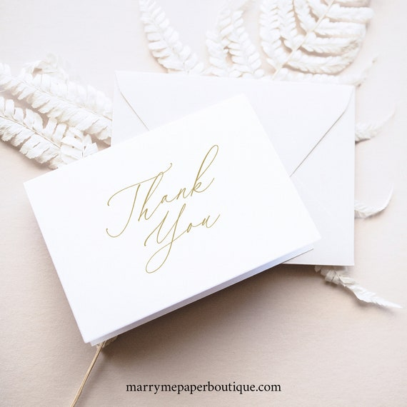 Thank You Card Template, Stylish Gold Script Folded, Editable Printable Instant Download, Demo Available